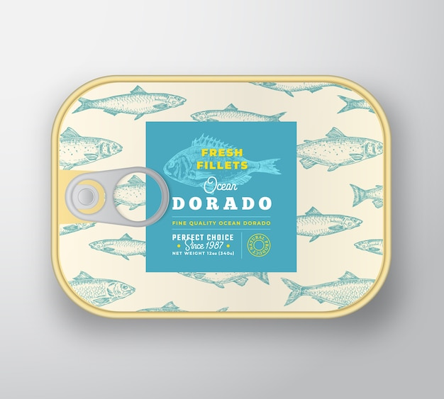 Canned fish label template.