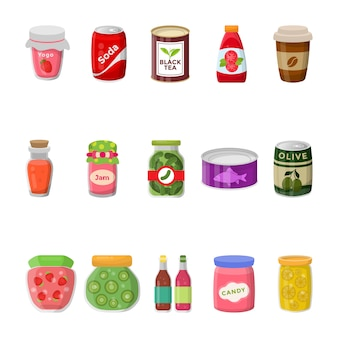 Canned food collection flat icons