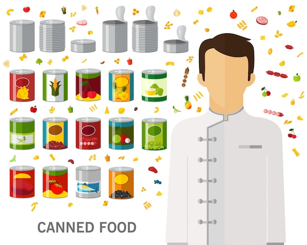 Canned food concept background. flat icons.