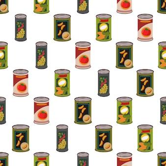 壁紙、ラッピング、パッキング、背景の白い背景の上の金属スズ漫画シームレスパターンの缶詰。