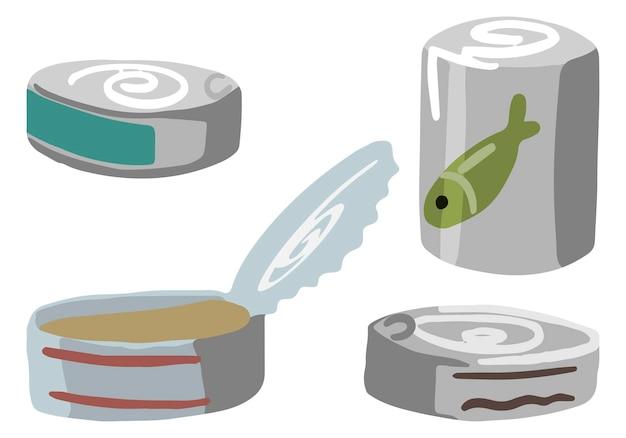 통조림 식품 세트, 야외 모험, 캠핑 제공, 하이킹 테마. 손으로 그린 벡터 낙서 삽화. 다채로운 만화 클립 아트 흰색 절연입니다. 디자인, 인쇄, 장식, 카드, 스티커용.