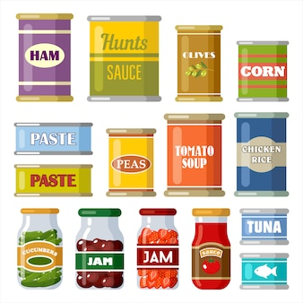 Canned food on the white background.