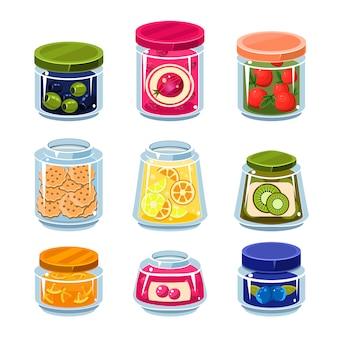 Консервированные фрукты и овощи в банках