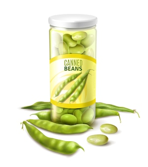 Canned green beans in glass jar realistic close up composition with fresh pods vector illustration