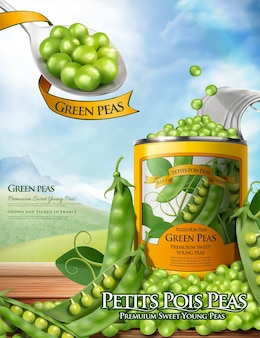 Canned green peas ads