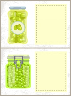 Canned spicy olives and peas in jars banners set
