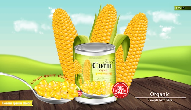 Canned sweet corn mockup