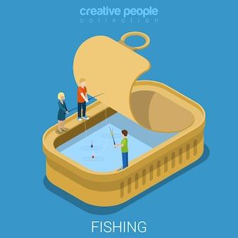 缶詰の缶詰の魚は平らな等尺性を維持します