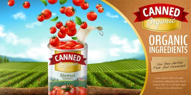 3d 그림에서 녹색 들판에 날아다니는 야채가 있는 통조림 토마토 광고