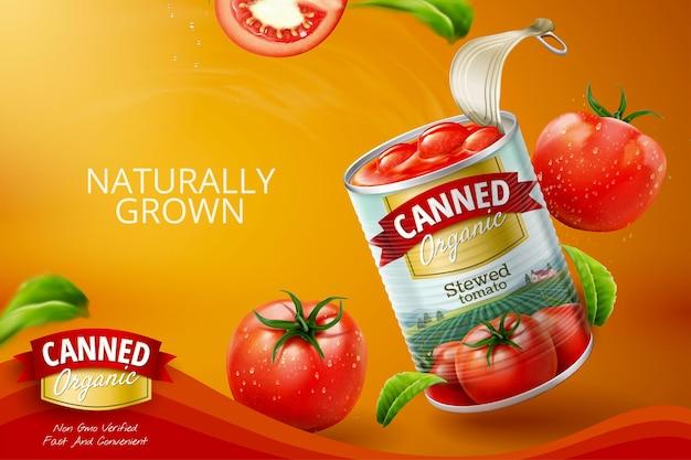 3d 그림에서 신선한 야채와 함께 통조림된 토마토 광고