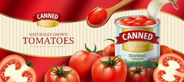 3d 그림에서 간단한 물결 모양의 배경에 신선한 야채와 함께 통조림된 토마토 광고