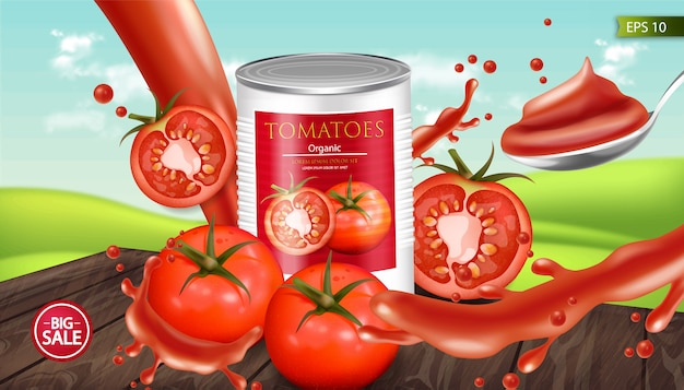 Canned tomatoes realistic mockup