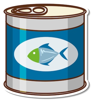 Canned tuna fish cartoon sticker