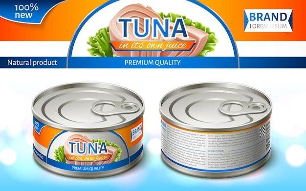 Консервированный тунец в железной банке. дизайн упаковки. реалистичные векторные иллюстрации.