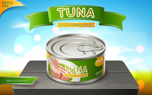 Canned tuna in an iron can package design nature background  realistic vector illustration