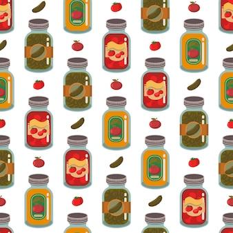 壁紙、ラッピング、パッキング、背景の白い背景の上の缶詰の野菜や果物のシームレスパターン。