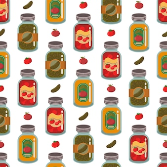 Canned vegetables and fruits seamless pattern on a white background for wallpaper, wrapping, packing, and backdrop.