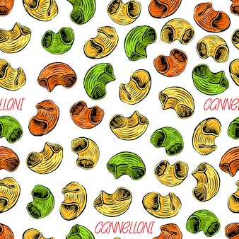 Cannelloni. seamless background of various kinds of pasta. hand-drawn illustration