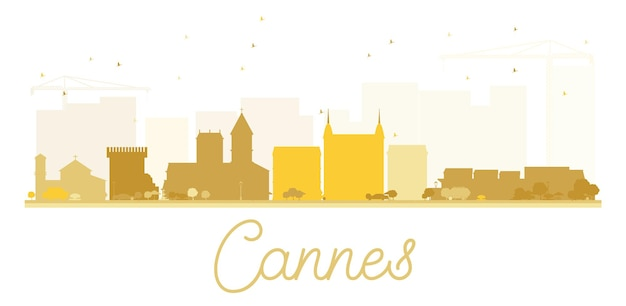 Cannes city skyline golden silhouette. vector illustration. simple flat concept for tourism presentation, banner, placard or web site. business travel concept. cityscape with landmarks