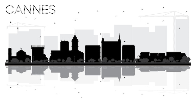 Cannes france city skyline black and white silhouette with reflections. vector illustration. business travel concept. cityscape with landmarks.