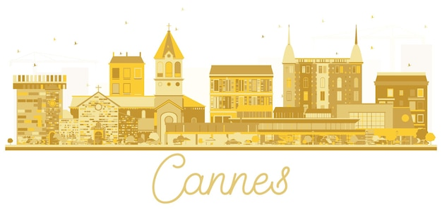 Cannes france city skyline golden silhouette. vector illustration. simple flat concept for tourism presentation, banner, placard or web site. business travel concept. cannes cityscape with landmarks.