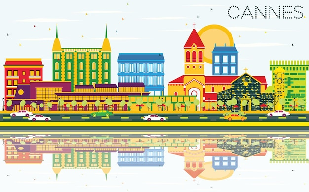 Cannes skyline with color buildings, blue sky and reflections. vector illustration. business travel and tourism concept with historic buildings. image for presentation banner placard and web site.