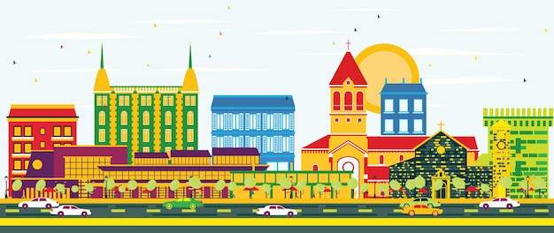 Cannes skyline with color buildings and blue sky. vector illustration. business travel and tourism concept with historic buildings. image for presentation banner placard and web site.
