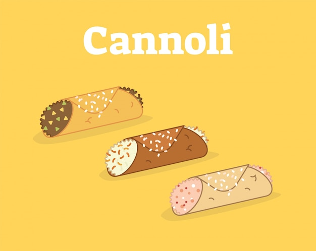 Итальянский cannoli сицилиани векторной иллюстрации