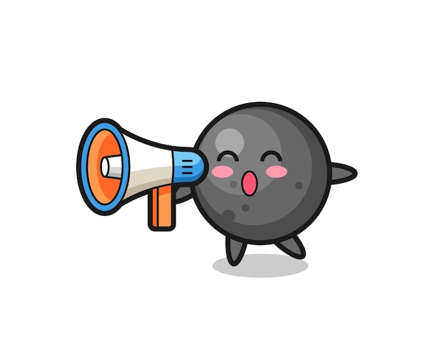 Cannon ball character illustration holding a megaphone , cute style design for t shirt, sticker, logo element