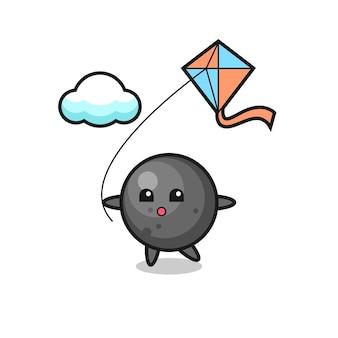 キャノンボールマスコットイラストが凧を弾いている、tシャツ、ステッカー、ロゴ要素のかわいいスタイルのデザイン