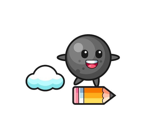 Cannon ball mascot illustration riding on a giant pencil , cute style design for t shirt, sticker, logo element