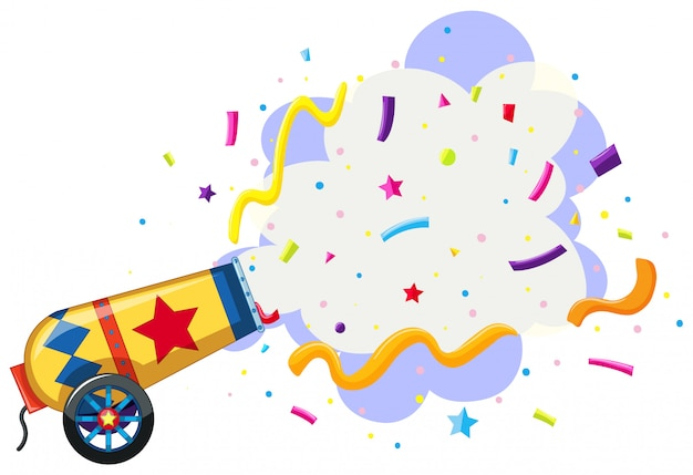 Cannon exploding confetti background