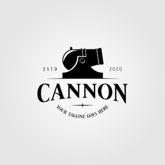 Cannon weapon logo vintage illustration design