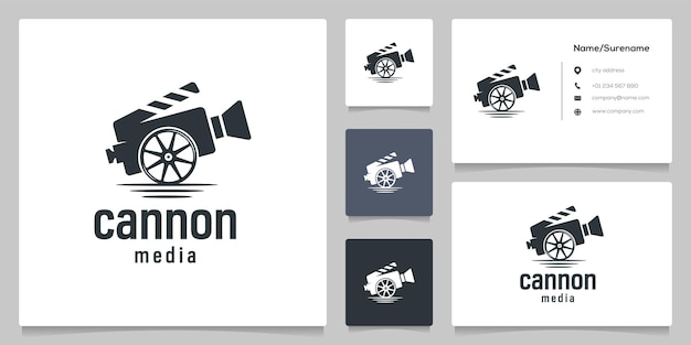 Cannon and wheel military  video film  logo design illustrations