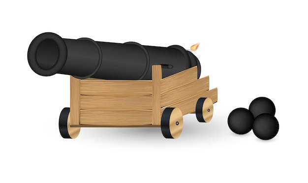 Cannon with a cannonball on a white background