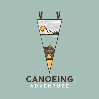 Canoe adventure logo, retro lake camping emblem design. vector