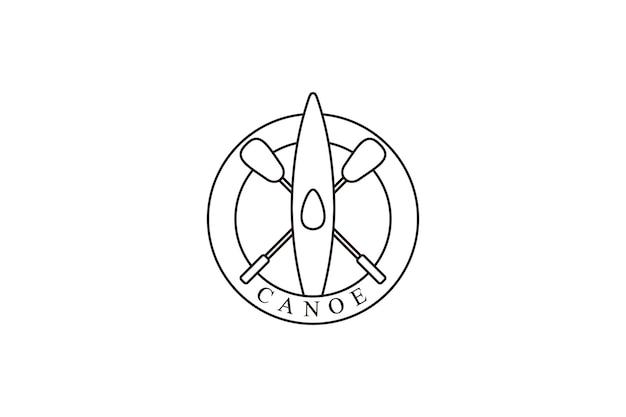 Canoe logo design template with line art style design