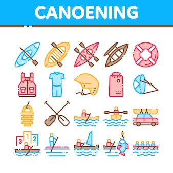 Canoeing collection elements icons set