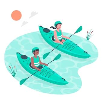 Canoeing concept illustration