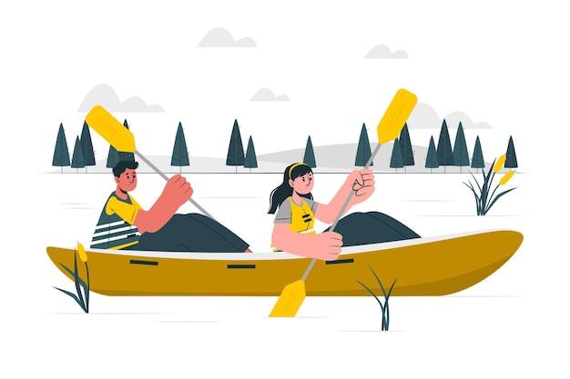 Иллюстрация концепции гребли на каноэ