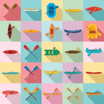 Canoeing icons set, flat style
