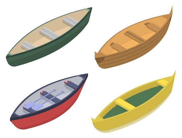 Canoeing icons set, isometric style