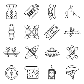 Canoeing icons set, outline style