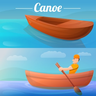 Canoeing illustration set on cartoon style