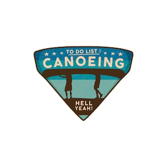 Canoeing logo emblem. vintage hand drawn travel badge canoe patch