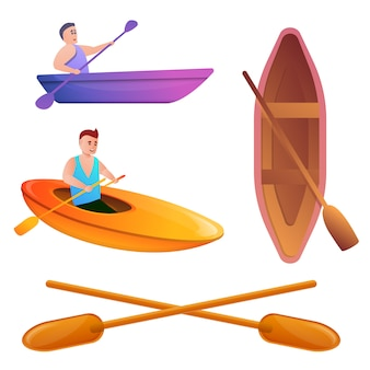 Canoeing set, cartoon style