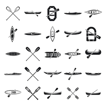 Canoeing sport icons set, simple style
