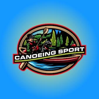 Canoeing sport logo template