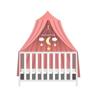 캐노피 유아용 침대 캐노피 벡터 일러스트와 함께 아기 침대 아기 침대