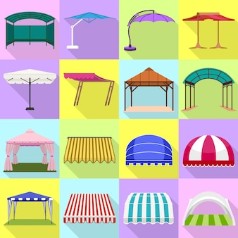 Canopy icons set. flat set of canopy vector